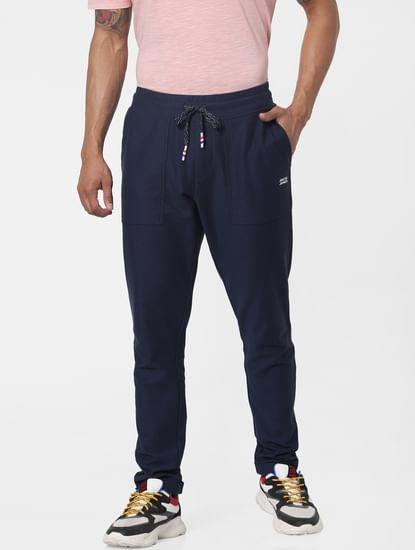 Blue Mid Rise Twill Weave Sweatpants
