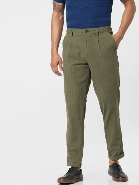 Green Mid Rise Striped Regular Fit Pants
