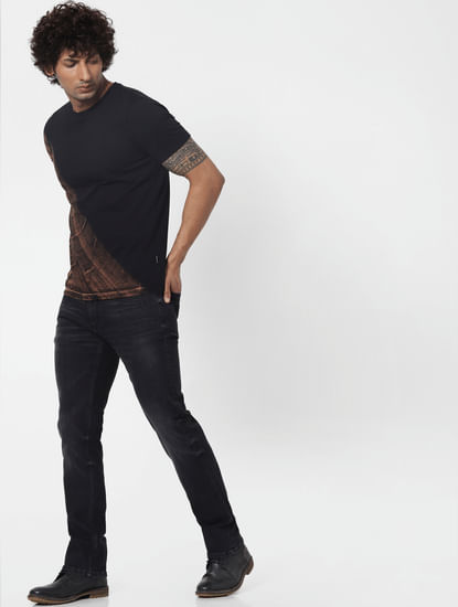 Protect Black Mid Rise Clark Regular Fit Jeans