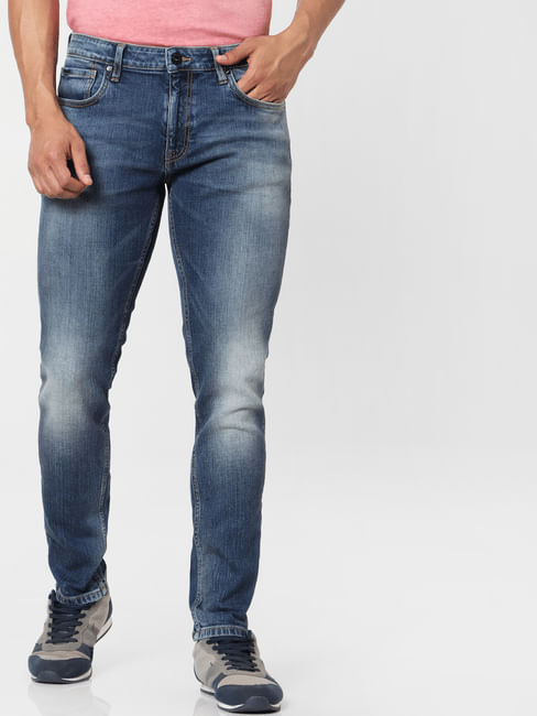 Protect  Blue Mid Rise Ben Skinny Fit Jeans