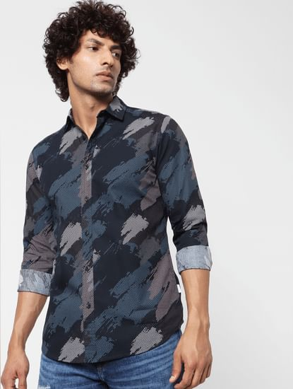 Blue Abstract Print Full Sleeves Shirt