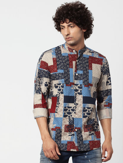 Multi-coloured Abstract Print Full Sleeves Shirt