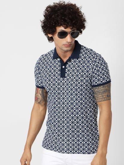 White Geometric Print Polo Neck T-shirt