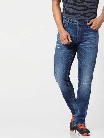Blue Mid Rise Tim Washed Slim Fit Jeans