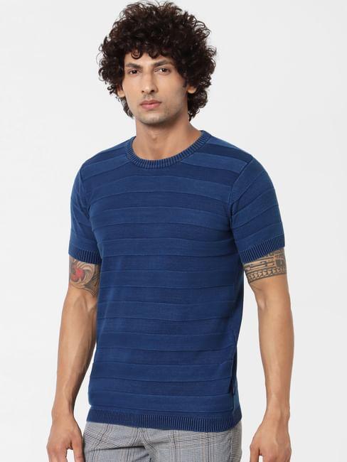 Blue Jacquard Striped Crew Neck T-shirt