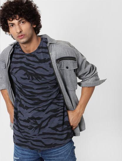 Blue Abstract Print Crew Neck T-shirt