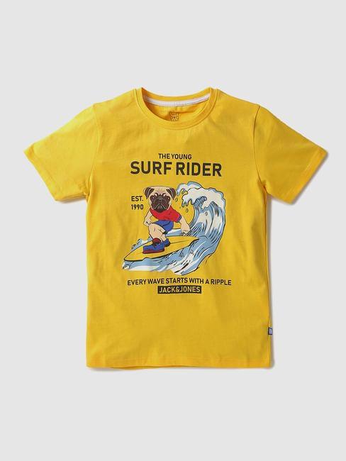Boys Yellow Puppy Graphic Crew Neck T-shirt