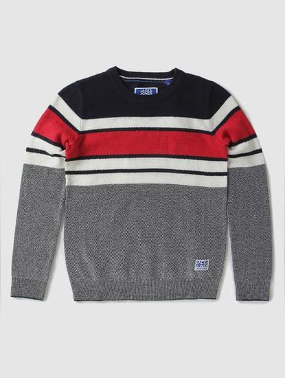 Boys Red Colourblocked Pullover