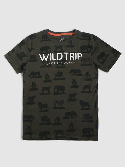 Junior Green Animal Print Crew Neck T-shirt