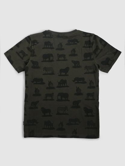 Junior Green Animal Print Crew Neck T-shirt