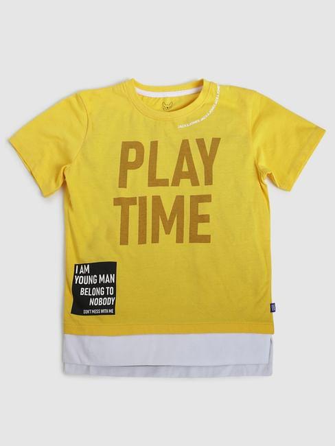 Boys Yellow Text Print Crew Neck T-shirt