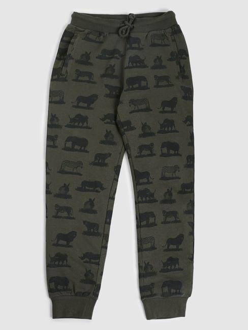 Junior Green Mid Rise Animal Print Sweatpants