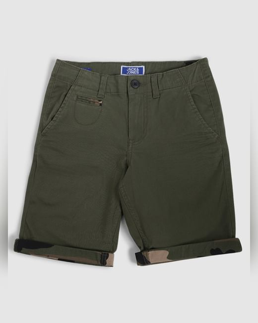 Boys Green Mid Rise Chino Shorts