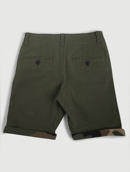 Junior Green Mid Rise Chino Shorts