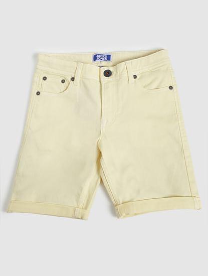 Boys Yellow Mid Rise Denim Shorts