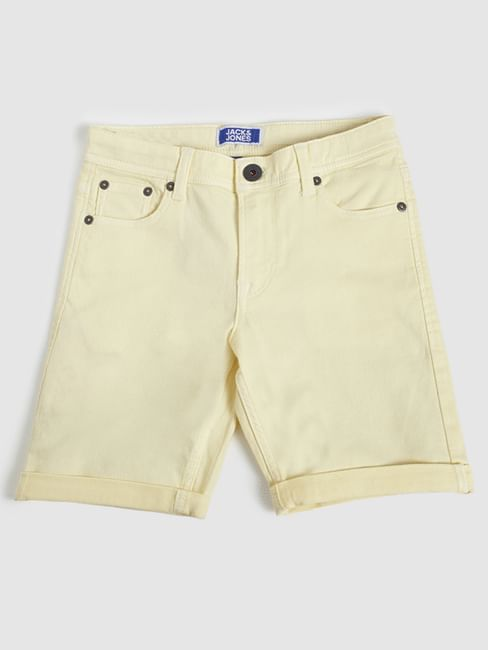 Junior Yellow Mid Rise Denim Shorts