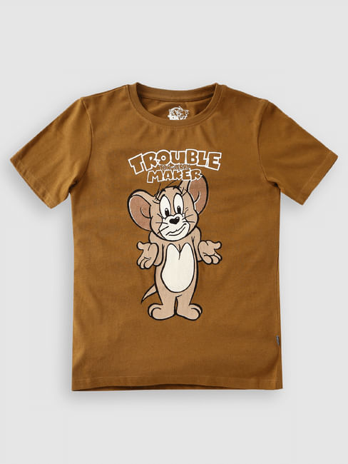 Junior X Tom & Jerry Brown Crew Neck T-shirt