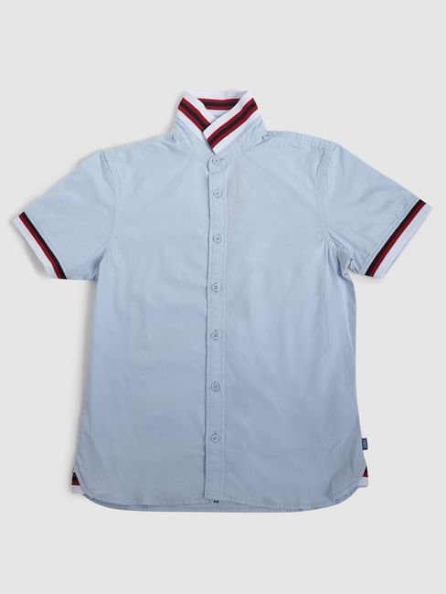 Junior Blue Contrast Tipping Short Sleeves Shirt