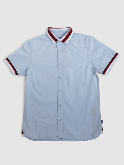 Junior Blue Contrast Tipping Short Sleeves Shirt
