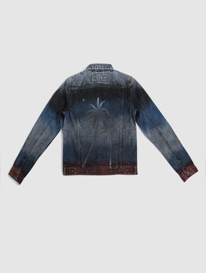Boys Blue Tropical Print Denim Jacket