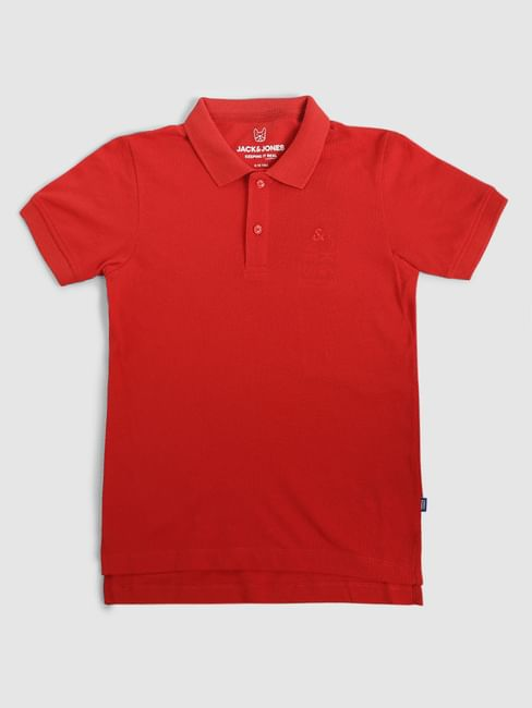 Boys Red Polo Neck T-shirt