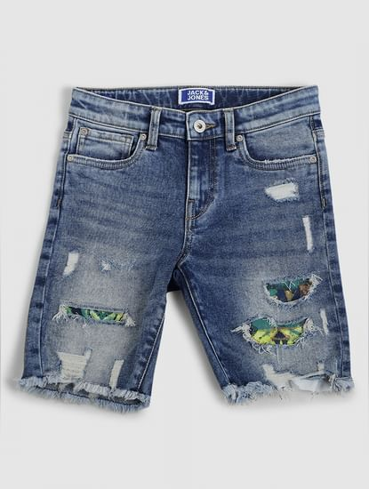 Junior Blue Mid Rise Ripped Denim Shorts