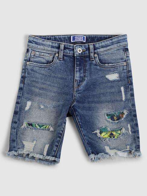 Boys Blue Mid Rise Ripped Denim Shorts