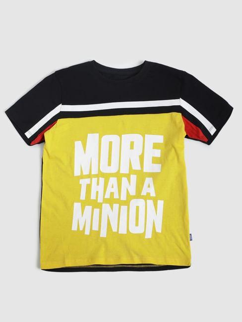 Boys X Minions Yellow Colourblocked Crew Neck T-shirt