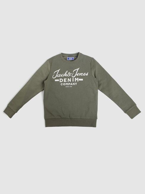 Boys Green Logo Print Sweatshirt