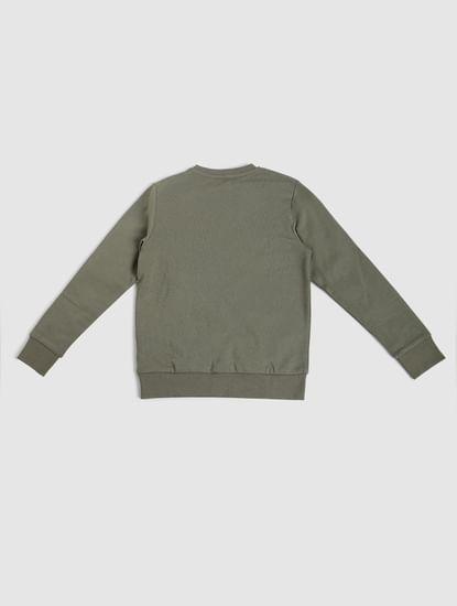 Junior Green Logo Print Sweatshirt