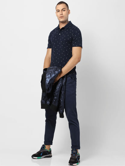 Navy Blue All Over Print Polo T-shirt