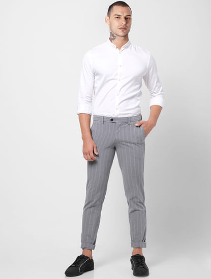 Grey Mid Rise Striped Slim Fit Pants