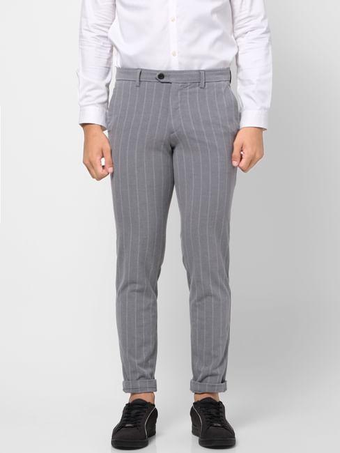 Grey Mid Rise Striped Slim Fit Pants