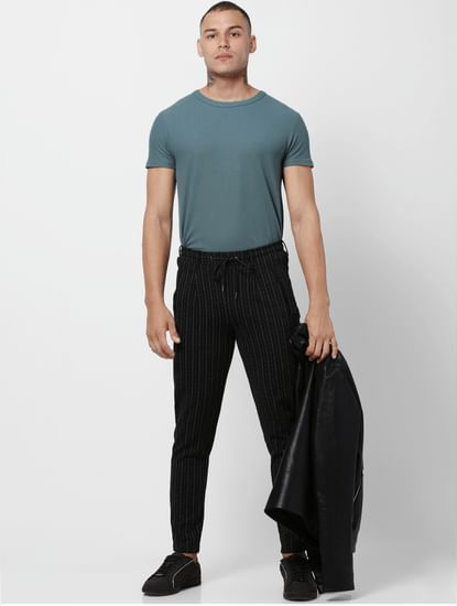 Black Low Rise Striped Pants