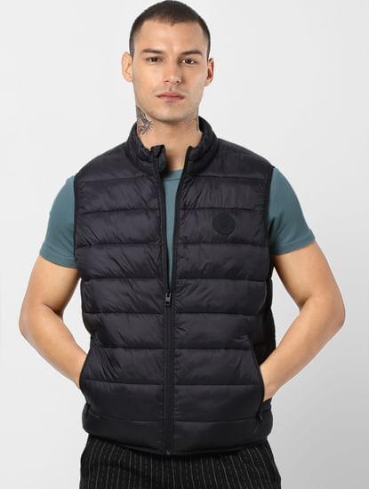 Black Zip-Up Puffer Jacket