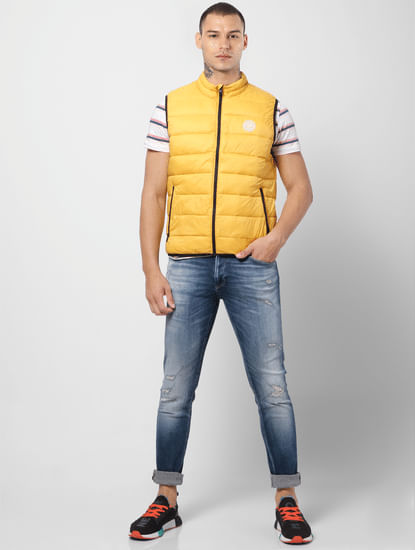 Yellow Zip-Up Puffer Jacket