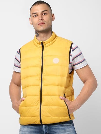Yellow Zip-Up Puffer Jacket