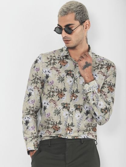 Green Floral Print Full Sleeves Shirt