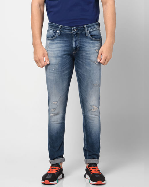 Blue Low Rise Washed Liam Skinny Fit Jeans