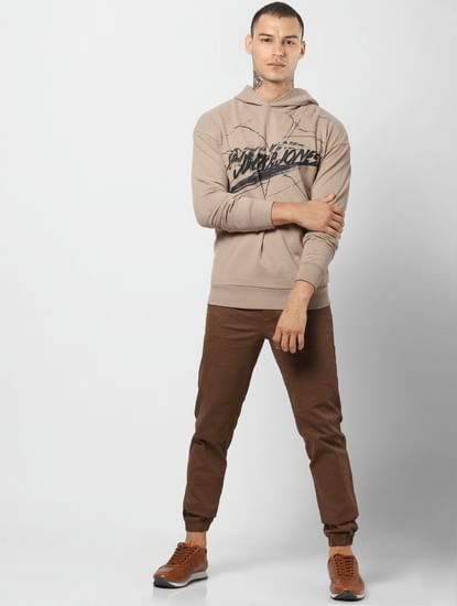 Light Brown Logo Print Hooded Sweatshirt