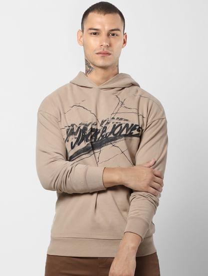 Light Brown Logo Print Hooded Sweatshirt