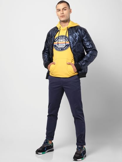 Yellow Logo Print Hooded Sweatshirt