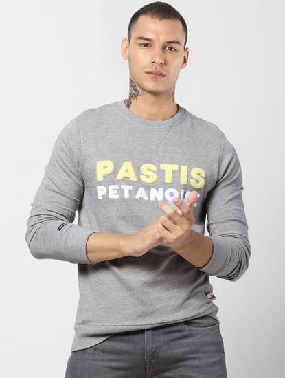 Grey Text Print Sweatshirt