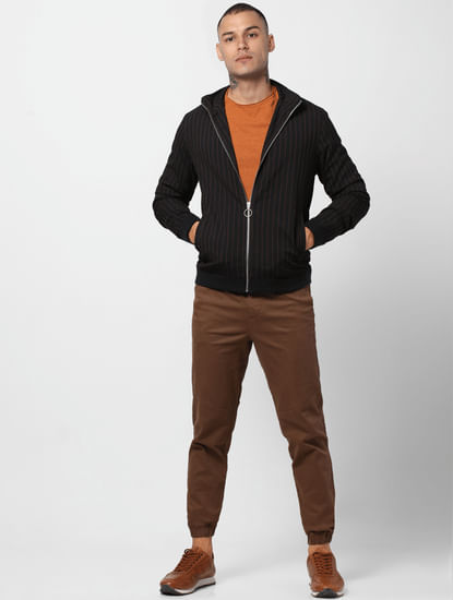 Black Striped High Neck Jacket