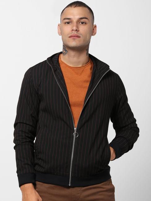 Black Striped High Neck Jacket