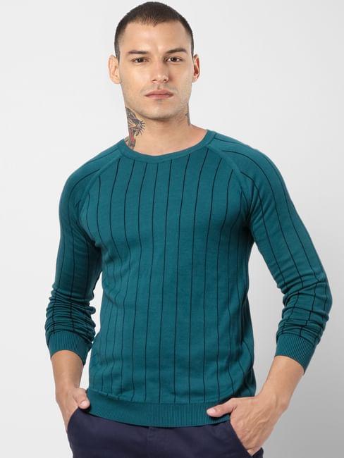 Green Striped Pullover