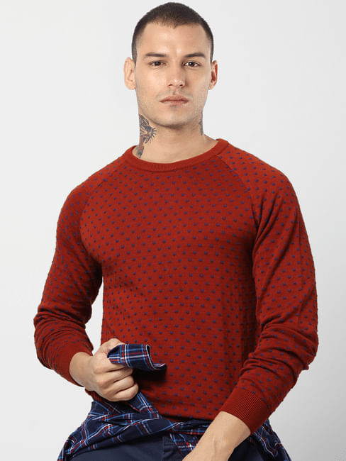 Rust All Over Print Jacquard Pullover