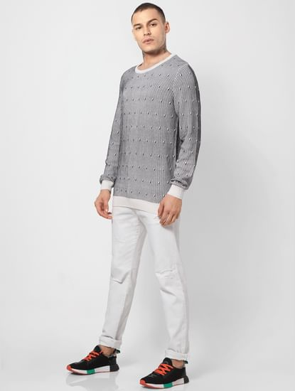 White All Over Print Jacquard Pullover