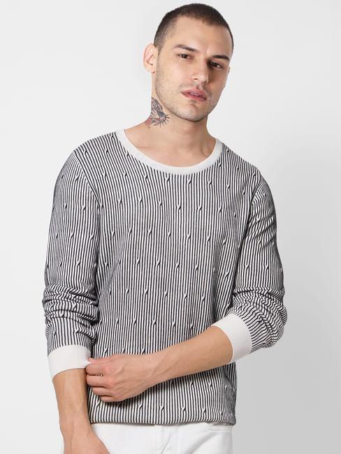 White All Over Print Jacquard Pullover
