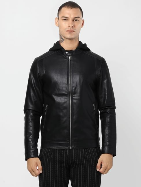 Black Hooded PU Jacket